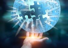 Rappresentazione della sfera 3D di puzzle di volo della tenuta dell'uomo d'affari Immagini Stock
