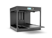 Rappresentazione della stampante nera del desktop 3d isolata sui precedenti bianchi Fotografia Stock