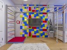 Rappresentazione della stanza del ` s dei bambini di interior design illustrazione di stock