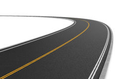 Rappresentazione della strada a doppio senso di circolazione che piega a sinistra sul fondo bianco royalty illustrazione gratis