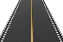 Rappresentazione della strada a doppio senso di circolazione vuota coperta di asfalto che va diritto, isolato su fondo bianco illustrazione vettoriale