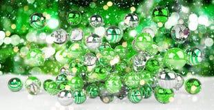 Rappresentazione delle bagattelle 3D di natale bianco e di verde Fotografia Stock