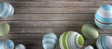 Rappresentazione delle uova di Pasqua su fondo di legno Immagine Stock Libera da Diritti