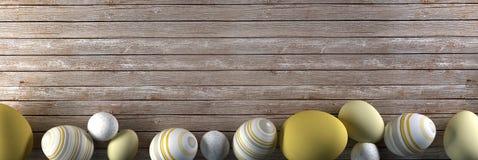 Rappresentazione delle uova di Pasqua su fondo di legno Fotografia Stock