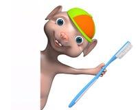 Rappresentazione dello spazzolino da denti 3d della tenuta del carattere del topo del fumetto illustrazione vettoriale