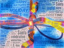 Rappresentazione di arte di parola di un pacchetto del regalo di Natale Fotografie Stock