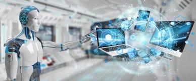 Rappresentazione di collegamento 3D dei dispositivi del cyborg bianco insieme Immagini Stock
