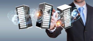 Rappresentazione di collegamento del centro dati 3D della stanza dei server dell'uomo d'affari Fotografie Stock
