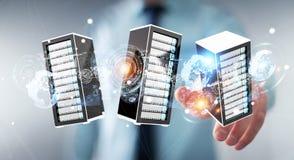 Rappresentazione di collegamento del centro dati 3D della stanza dei server dell'uomo d'affari Immagini Stock