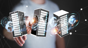 Rappresentazione di collegamento del centro dati 3D della stanza dei server dell'uomo d'affari Immagini Stock Libere da Diritti