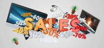 Rappresentazione di concetto 3D dei dispositivi e di vendite Immagini Stock