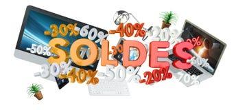 Rappresentazione di concetto 3D dei dispositivi e di vendite Immagine Stock