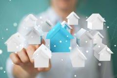 Rappresentazione di concetto 3D della casa di eco della donna di affari Fotografia Stock