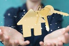 Rappresentazione di concetto 3D della casa di eco della donna di affari Fotografie Stock Libere da Diritti