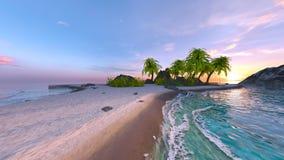 rappresentazione di 3D CG della spiaggia fotografie stock