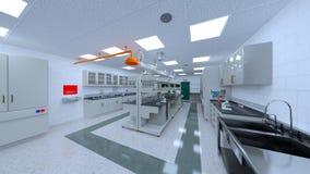 rappresentazione di 3D CG della stanza di scienza fotografie stock libere da diritti