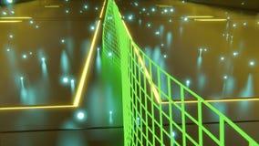 Rappresentazione di fantascienza 3d delle forme futuristiche e dei modelli che galleggiano nell'a mezz'aria con le luci al neon e illustrazione di stock