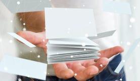 Rappresentazione di galleggiamento del biglietto da visita 3D della tenuta dell'uomo d'affari Fotografia Stock Libera da Diritti