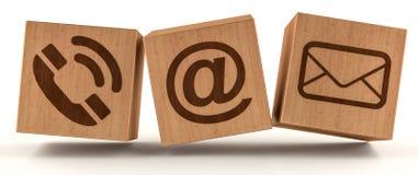 Rappresentazione di legno dell'icona 3D del contatto del cubo di Digital Fotografia Stock Libera da Diritti