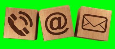 Rappresentazione di legno dell'icona 3D del contatto del cubo di Digital Fotografie Stock