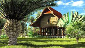 Rappresentazione di legno della capanna 3d di stile tailandese Immagine Stock Libera da Diritti