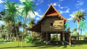 Rappresentazione di legno della capanna 3d di stile tailandese Fotografia Stock