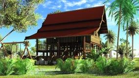 Rappresentazione di legno della capanna 3d di stile tailandese Immagini Stock Libere da Diritti
