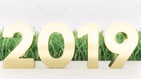 2019 rappresentazione di legno di numero 3d del buon anno sulla tavola di legno Copertura d'avanguardia fotografia stock libera da diritti