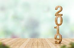 Rappresentazione di legno di numero 3d del nuovo anno 2019 sulla tavola di legno a della plancia Fotografie Stock Libere da Diritti