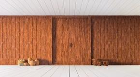 Rappresentazione di legno scolpita tailandese del muro divisorio 3d Fotografie Stock