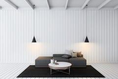 Rappresentazione di legno semplice del salone 3d Immagine Stock Libera da Diritti