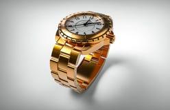 Rappresentazione di lusso dell'orologio 3d dell'oro Immagini Stock Libere da Diritti