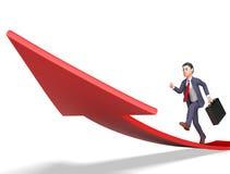 Rappresentazione di Person And Ahead 3d di affari di manifestazioni della freccia di obiettivi Immagini Stock