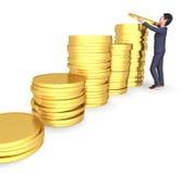Rappresentazione di Person And Saves 3d di affari di manifestazioni dei soldi del carattere Fotografie Stock