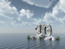 Rappresentazione di roccia 3d di numero dieci Immagine Stock