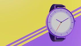 Rappresentazione di tema viola dell'orologio 3d