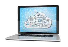 Rappresentazione di un computer portatile con il concetto della nuvola Fotografie Stock