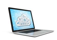Rappresentazione di un computer portatile con il concetto della nuvola Fotografia Stock