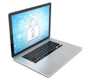Rappresentazione di un computer portatile con il concetto di sicurezza Immagine Stock Libera da Diritti