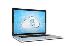 Rappresentazione di un computer portatile con il concetto di sicurezza della nuvola Fotografia Stock