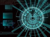 Rappresentazione di un obiettivo cyber futuristico del fondo con il lig del laser illustrazione di stock