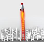 Rappresentazione di vantaggio competitivo 3d del missile della scala Fotografie Stock Libere da Diritti