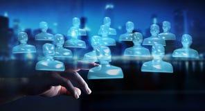 Rappresentazione di vetro brillante commovente del gruppo 3D dell'avatar dell'uomo d'affari Immagine Stock Libera da Diritti