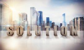 Rappresentazione di vista 3D della soluzione di affari Fotografia Stock