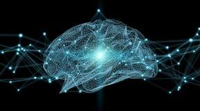 Rappresentazione digitale dei raggi x 3D del cervello umano illustrazione vettoriale