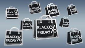 Rappresentazione digitale delle icone 3D di vendite di Black Friday Immagini Stock