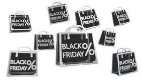 Rappresentazione digitale delle icone 3D di vendite di Black Friday Fotografie Stock Libere da Diritti