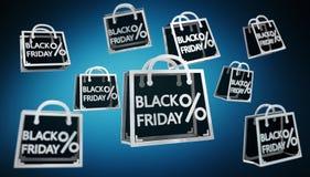 Rappresentazione digitale delle icone 3D di vendite di Black Friday Fotografia Stock Libera da Diritti