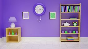 Rappresentazione domestica dell'interiore 3D illustrazione vettoriale