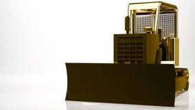 rappresentazione dorata 3d di un camion della costruzione dentro uno studio Immagine Stock Libera da Diritti